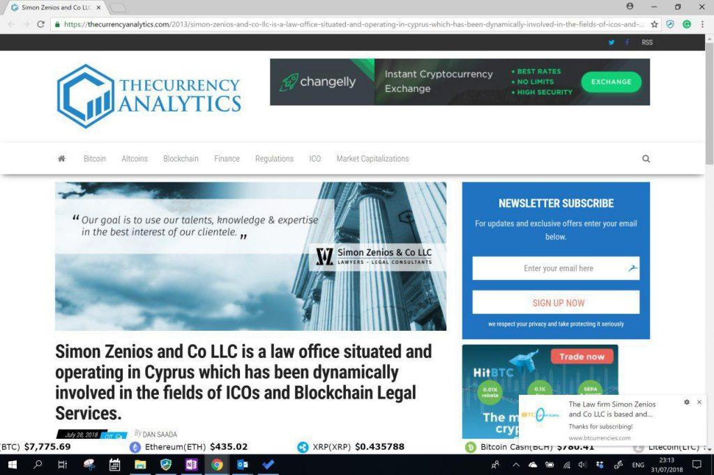 Simon Zenios & Co LLC featured in an article for works in legal advice for ICOs and Blockchain in Cyprus