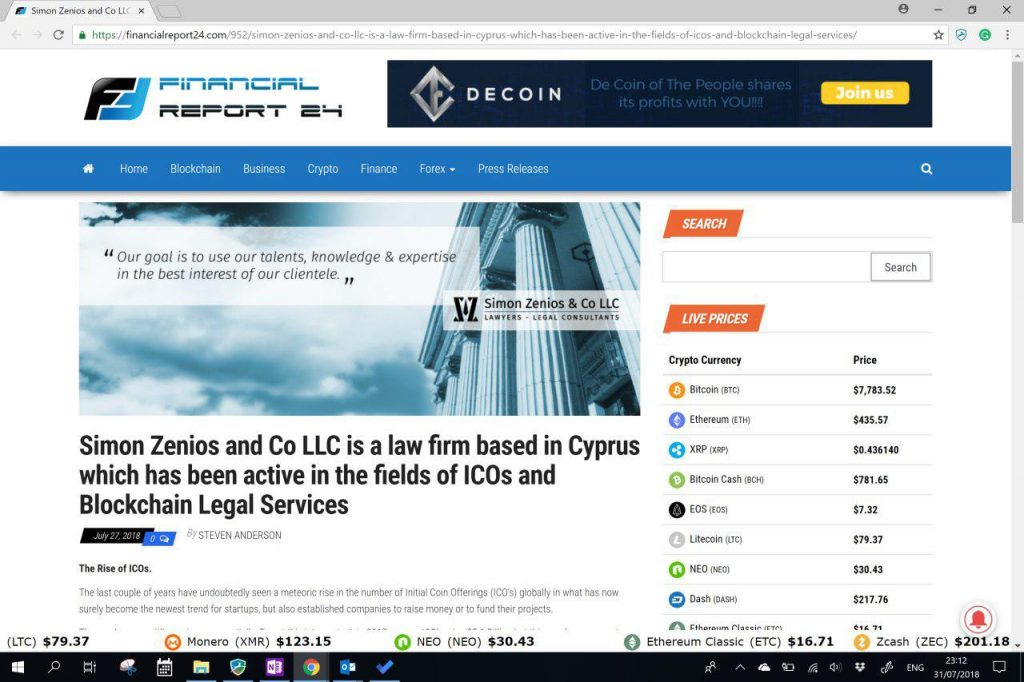article about Simon Zenios & Co LLC role in legal services for ICOs and blockchain technology in Cyprus